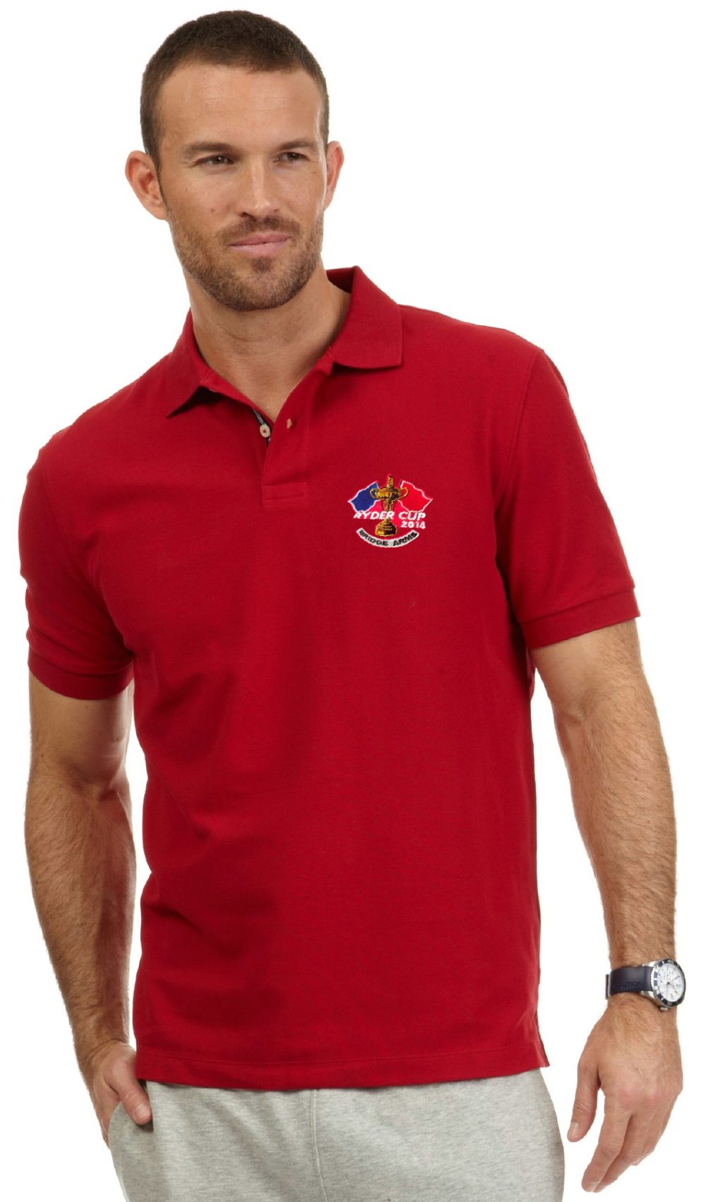 Club embroidered polo shirts and baseball caps and screen-printed football shirts from DG Embroidery of Stranraer like this red polo shirt with a Ryder Club 2014 logo