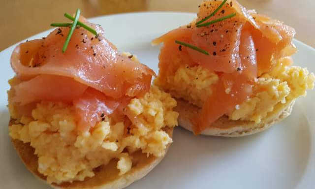 Salmon and scrambled egg at Lorien House Bed and Breakfast Fort Augustus Scotland