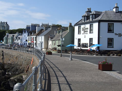 The front at Portpatrick Harbour with the Harbour House Hotel