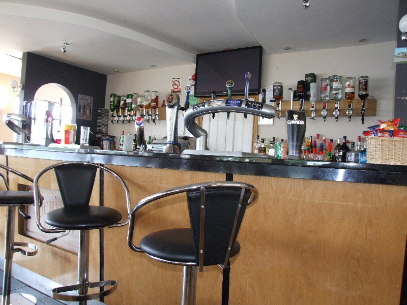 A well stocked bar with high stools
