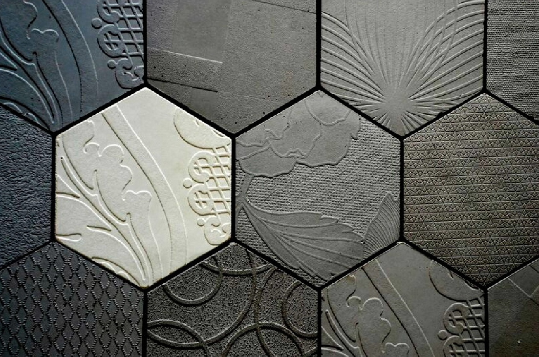 architectural concrete tiles from Dream Tiles of Bicester - Textiles Hexagonal