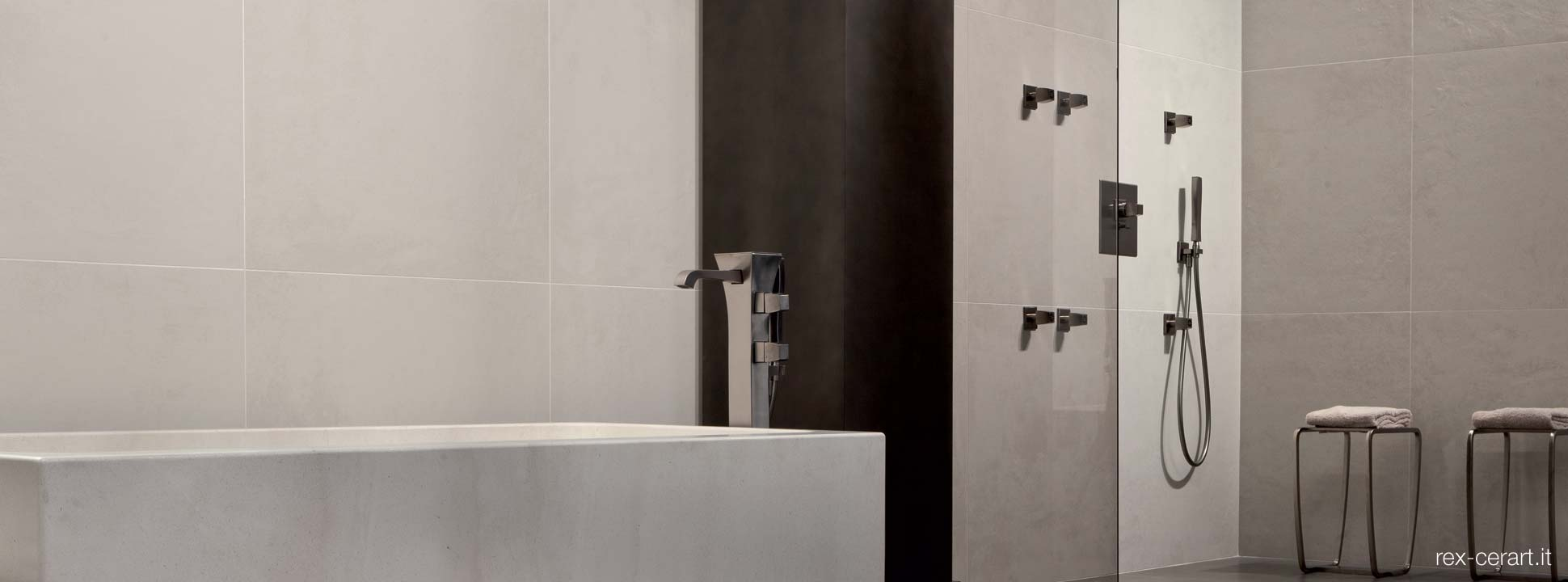 Stylish luxury Italian floor and wall tiles by Rex Ceramica for bathrooms