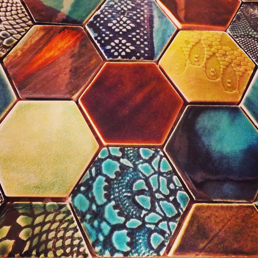 Highly unusual hexagonal tiles in a variety of colours