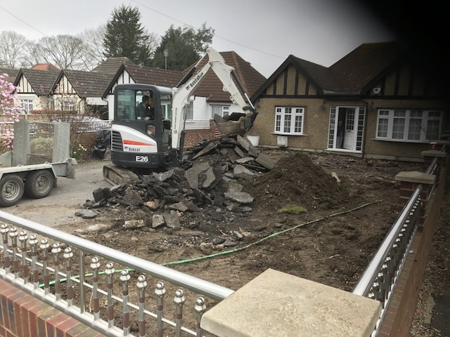 Breaking up an old tarmac drive in Hillingdon