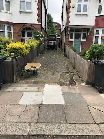 Narrow path to side of house in Ealing, West London