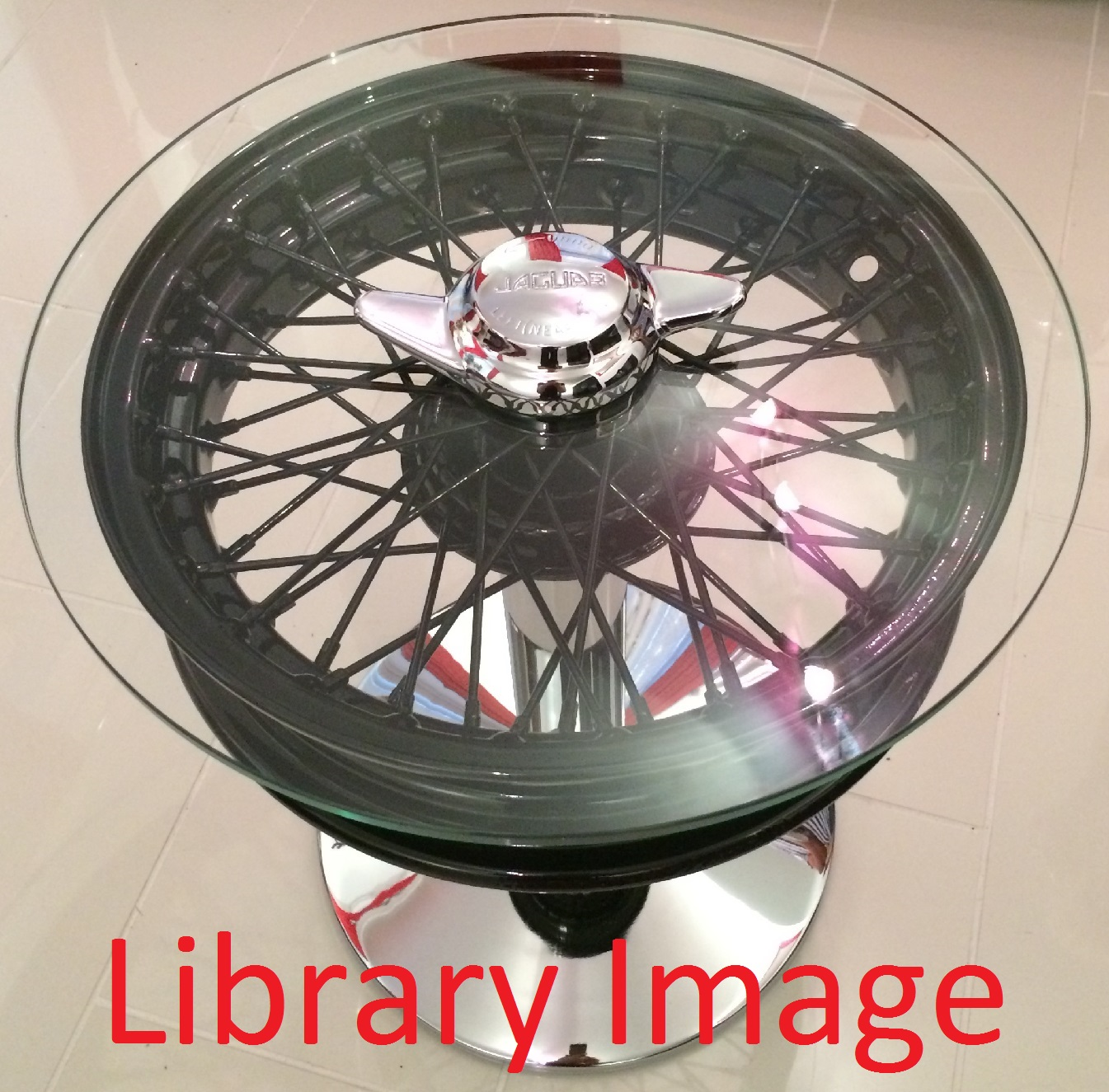 "15"" Wheel Coffee Table (Standard Refurbished Wheel & Refurbished Spinner) Glass Top"