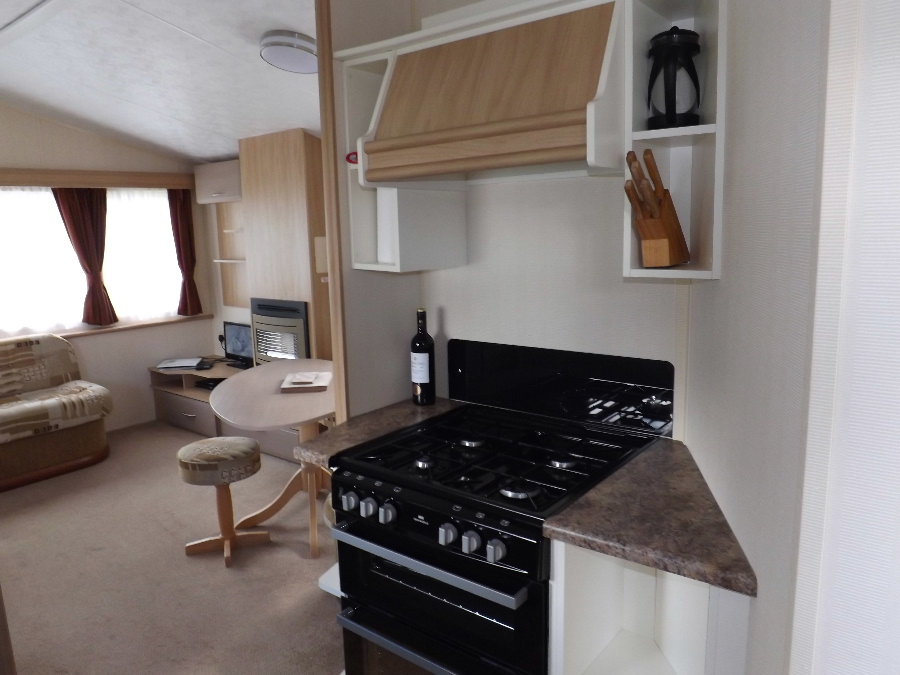 The kitchen area in a static at Glentrool Camping and Caravan Site