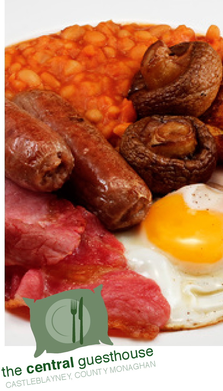 A full Irish Breakfast at The Central Guesthouse, Castleblaney, County Monaghan, Ireland