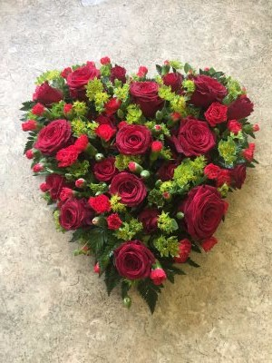 funeral wreath by Flowers For You, Dalbeattie, with red roses