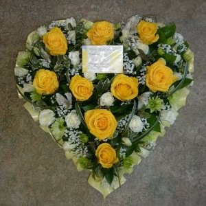 funeral wreath heart by flowers for you, dalbeatte, with yellow roses