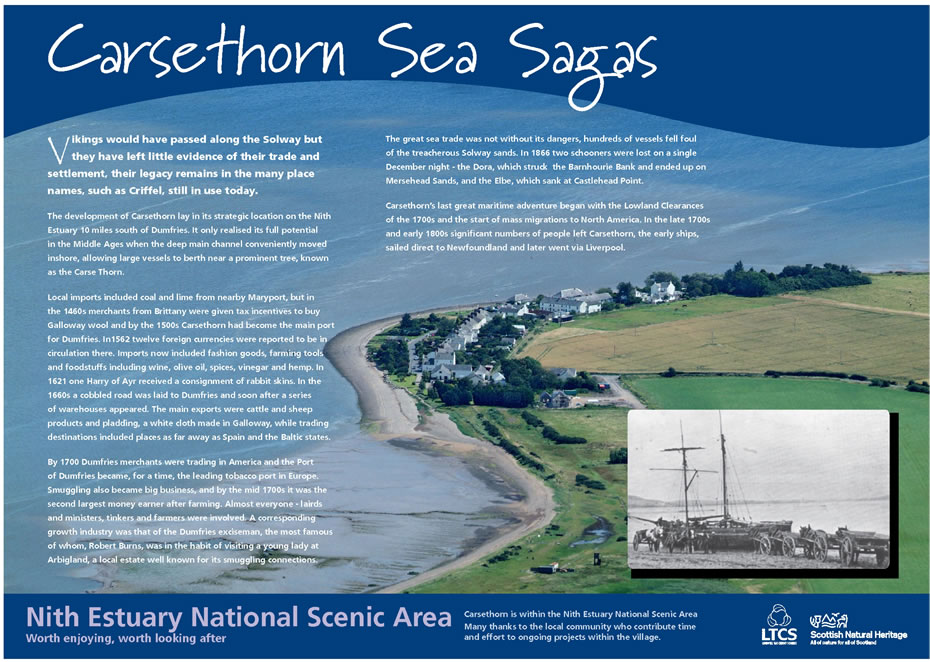 Nith Estuary National Scenic Area Carsethorn Interpretation Board at Carsethorn Dumfries and Galloway, Scotland
