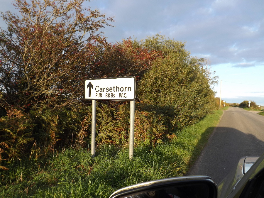 A sign showing the facilities at Carsethorn, Dumfries and Galloway, Scotland
