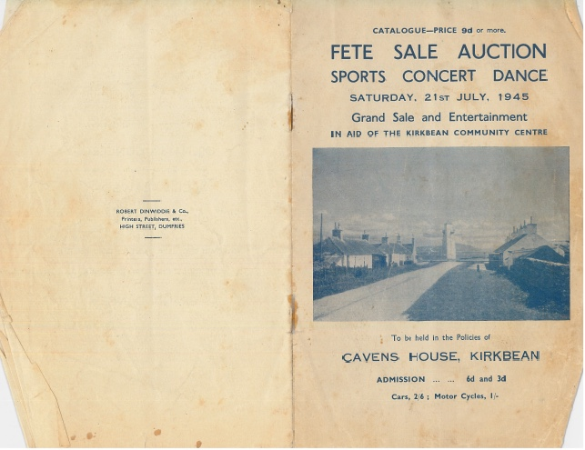 Programme for a fete, concert and dance in aid of Kirkbean Community Centre in 1945
