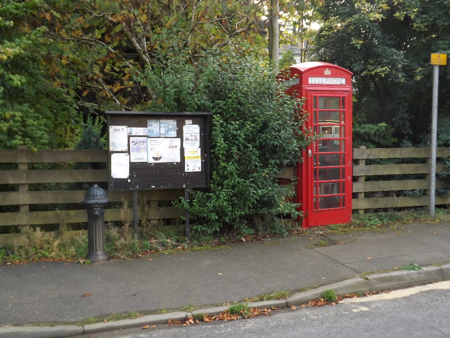 An iconic British telephone kiosk in the village of Kirkbean, Dumfries and Galloway, Scotland