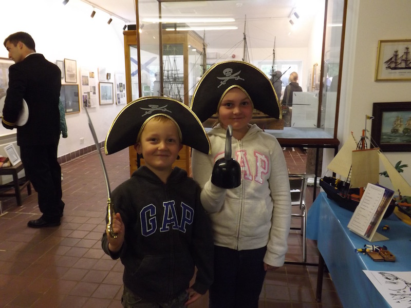 Young pirates enjoying a visit to the John Paul Jones Museum near Kirkbean, Dumfries and Galloway, Scotland