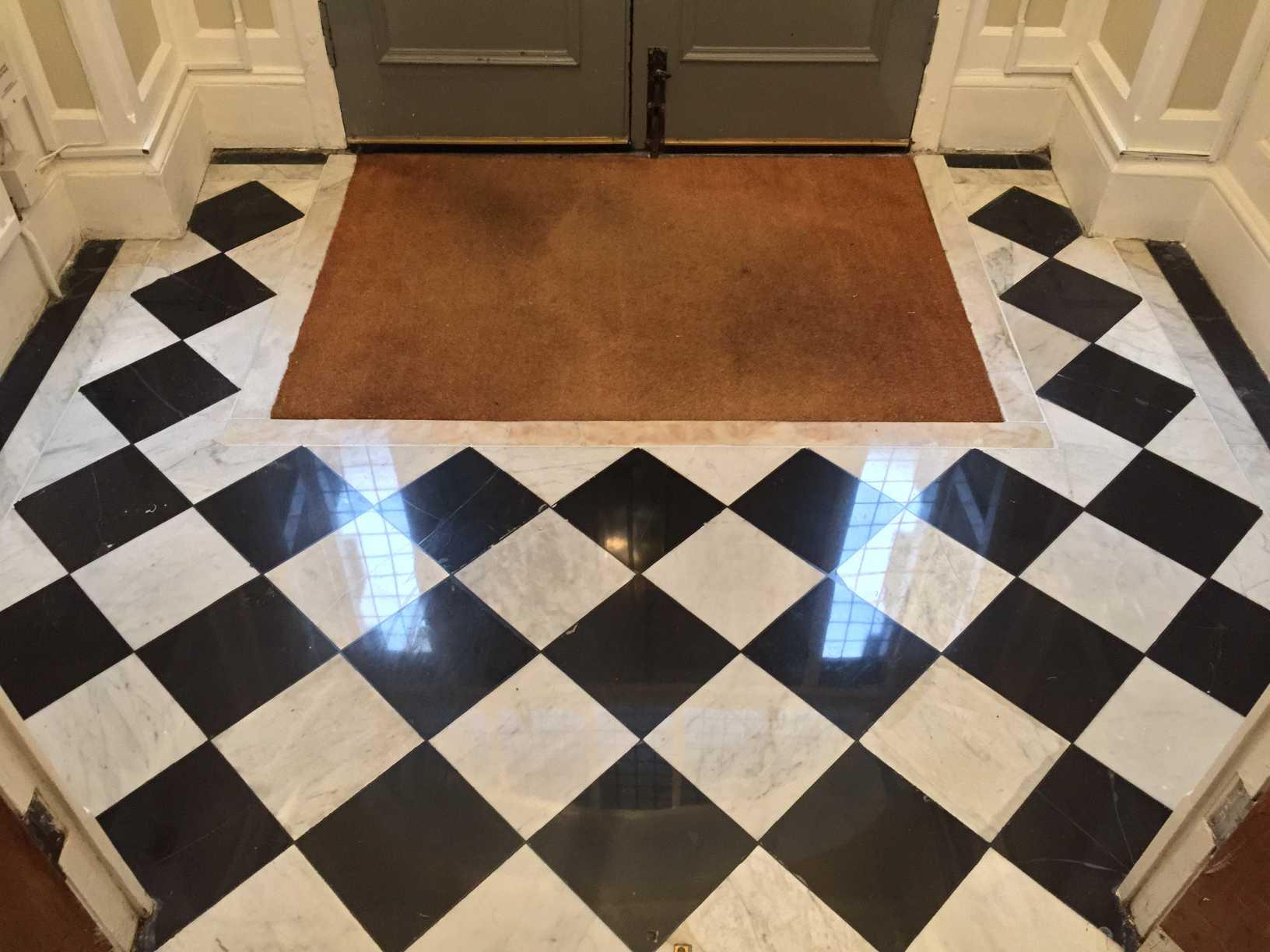 Black White Marble Floor Restoration Polishing Repair