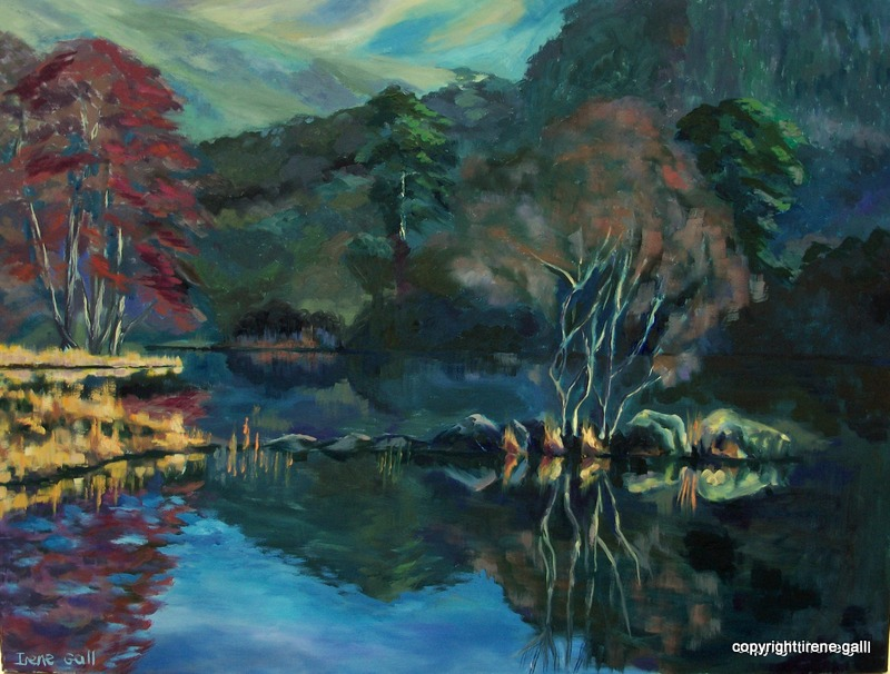 OIL PAINTING OF RYDAL WATER, CUMBRIA BY IRENE GALL