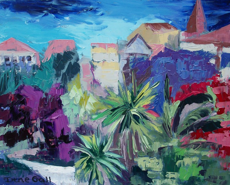 Corfu Town, park, trees, colourful, palette knife