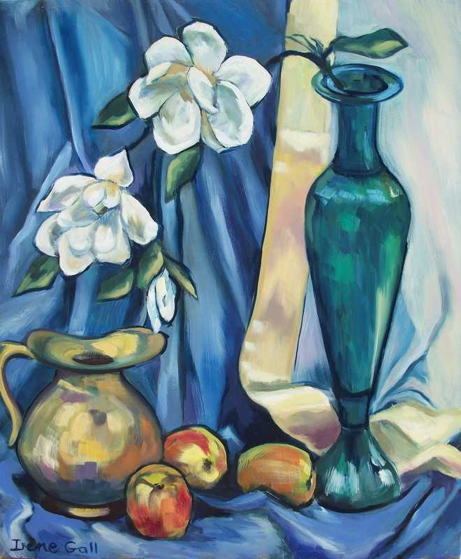 still life, apples, blue silk, brass and copper jugs,