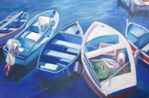 Boats in the Harbour Puerto Mogan by contemporary Scottish artist Irene Gall of Thornhill, Dumfries and Galloway