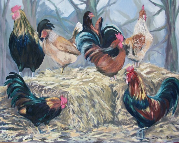 Chickens on a Hay Bale by contemporary Scottish artist Irene Gall of Thornhill, Dumfries and Galloway