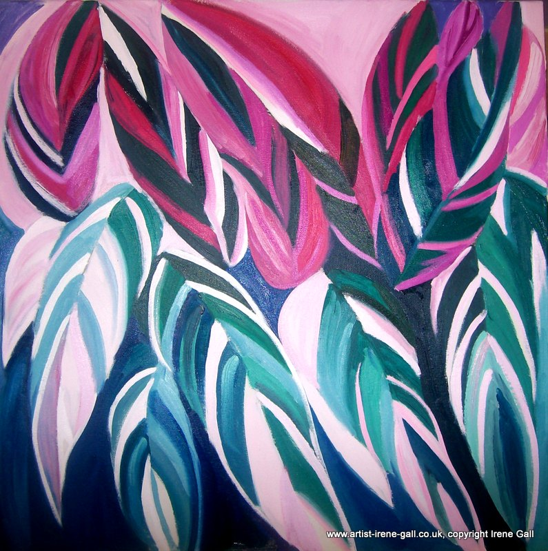 Ctetanthe Leaves abstract painting by contemporary Scottish artist Irene Gall of Thornhill, Dumfries and Galloway