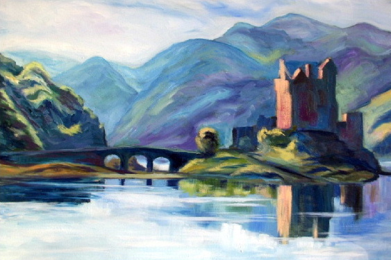 Painting of Eilean Donan Castle by contemporary Scottish artist Irene Gall of Thornhill, Dumfries and Galloway