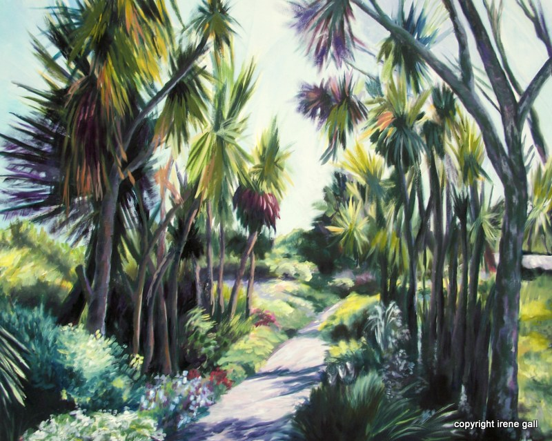 Logan Botanical Garden an impressionist painting by Contemporary Scottish artist Irene Gall of Thornhill, Dumfries and Galloway