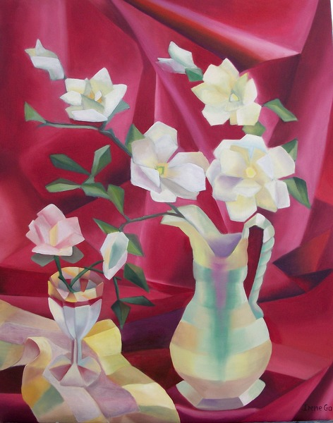 Magnolias in an art deco vase by by contemporary Scottish artist Irene Gall of Thornhill, Dumfries and Galloway