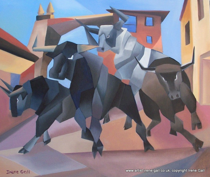 bullrunning in Pamplona made famous by Hemingway