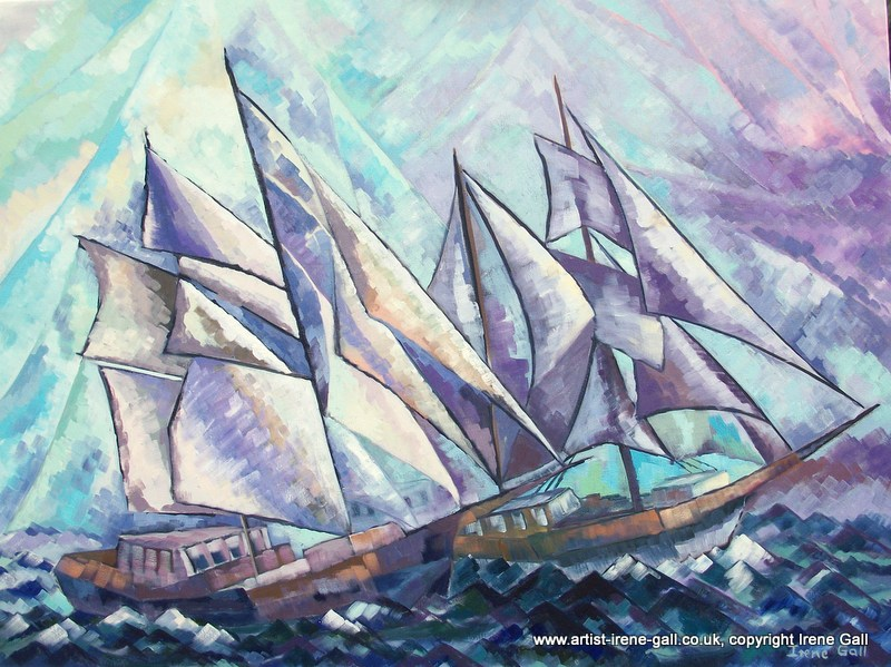 Sailing into a Storm by contemporary Scottish artist Irene Gall of Thornhill, Dumfries and Galloway