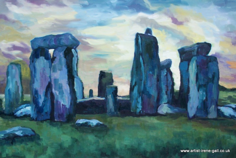 Stonehenge in oil on canvas by contemporary Scottish artist Irene Gall of Thornhill, Dumfries and Galloway