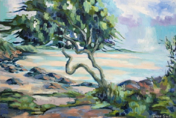 Tree on the Beach at Kippford by contemporary Scottish artist Irene Gall of Thornhill, Dumfries and Galloway