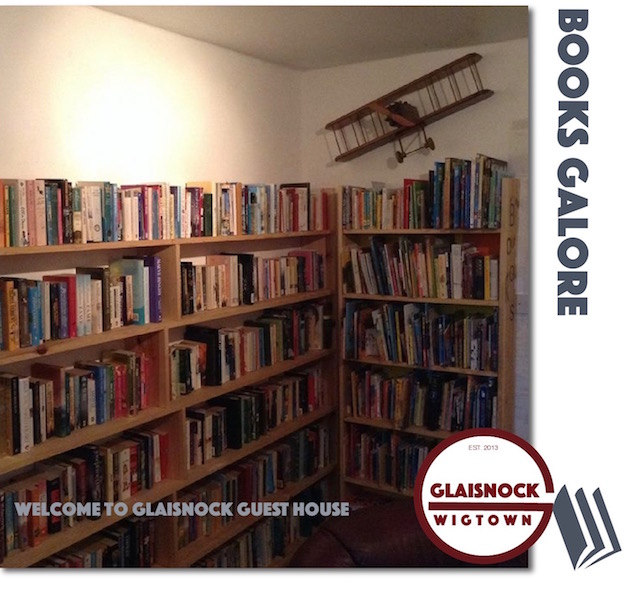 Books at the Glaisnock book-themed cafe Wigtown, Scotland's National Book Town