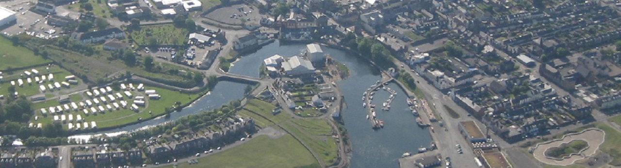 An aerial view of the Alexander Noble & Son boat yard Girvan Ayrshire