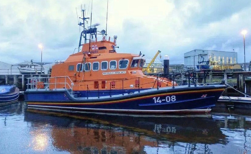 An RNLI lifeboat at Alexander Noble & Sons Marine Engineers Girvan Ayrshire