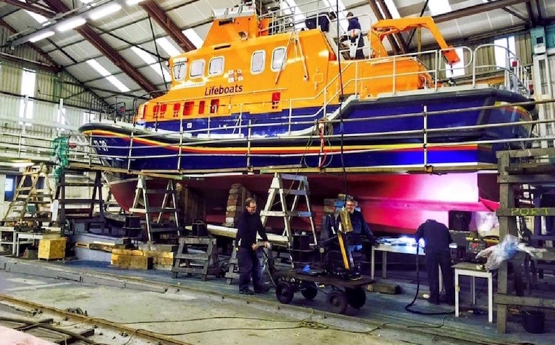 Lifeboat refit at Alexander Noble & Sons Marine Engineers Girvan Ayrshire