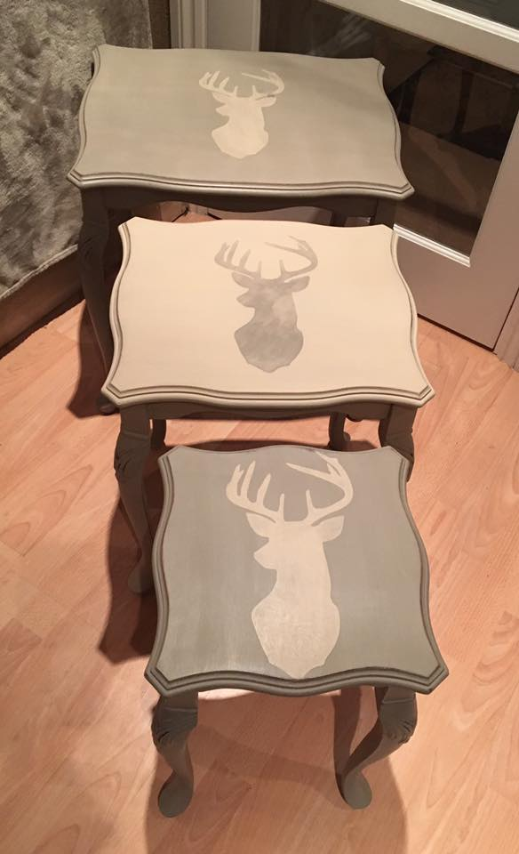 Painted in French Linen and Country Grey with stag stencil