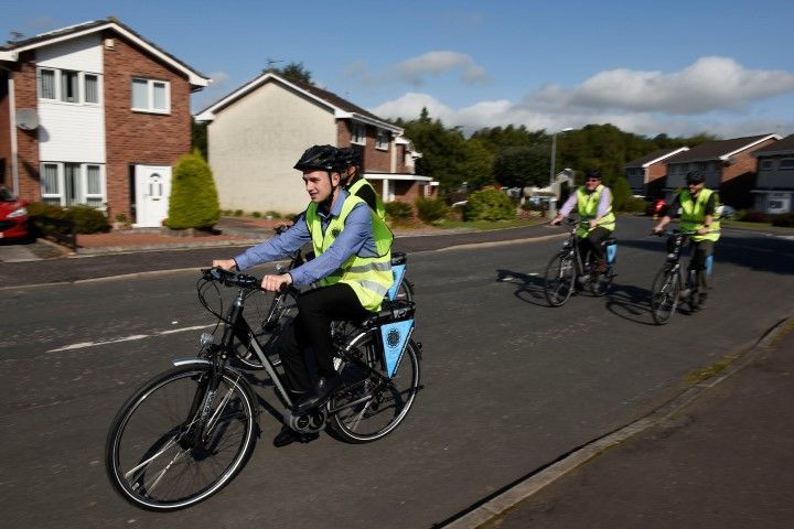Cyclists in and round Kilmarnock on a led ride
