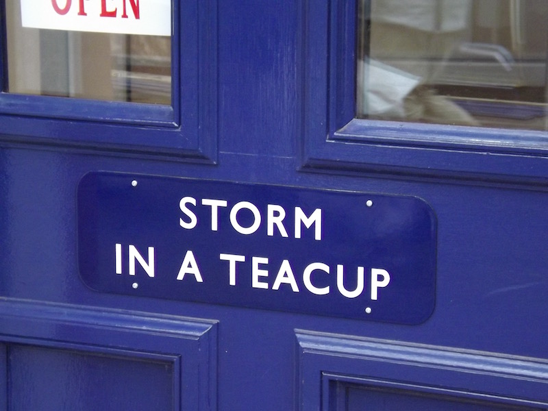 Entrance sign for the Storm in a Teacup cafe within Kilmarnock Station