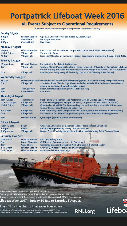 Programme for the 2016 Portpatrick Lifeboat Festival