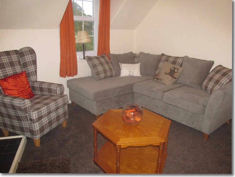 The lounge at The Attic, self catering holiday accommodation Portpatrick