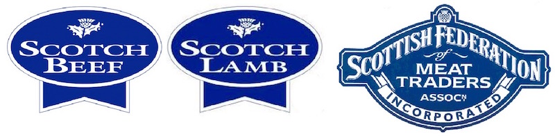 Logos of the various professional associations John D Owen & Son belong to, Scotch Beef, Scotch Lamb and the Scottish Federation of Meat Traders