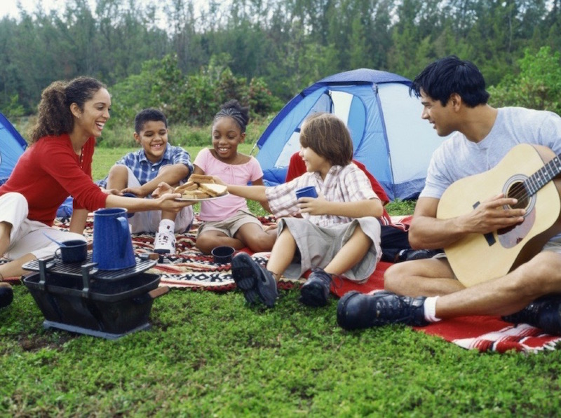 A family enjoying a camping holiday at Goldpark Camping and Caravan Site