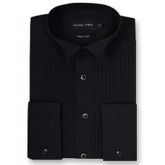 black stitch pleat dinner shirt