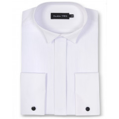 white ribbed pique dinner shirt