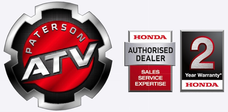 Logos of Paterson ATV Centre, Dalbeattie, Dumfries and Galloway - authorised Honda ATV dealers