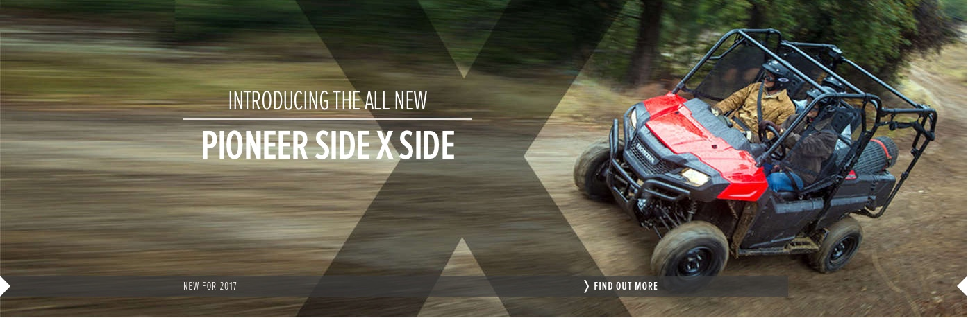 Read more about the new Honda Pioneer Side x Side all terrain vehicle available from Paterson ATV Dalbeattie