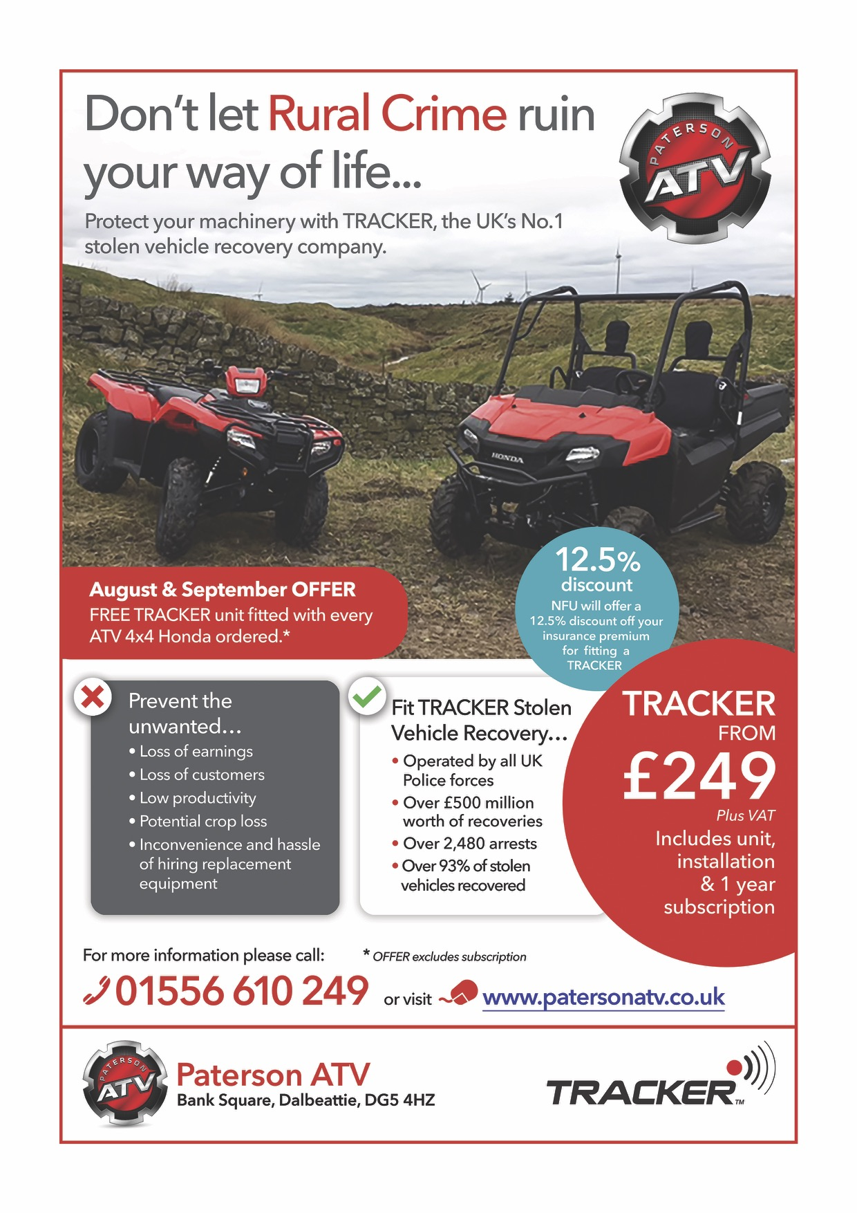 Advert about the Paterson ATV special Tracker installation offer August and September 2017
