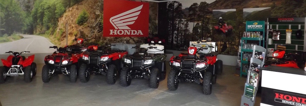 Internal view at Paterson's ATV showroom with a range of Honda All terrain vehicles on display